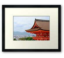 Kyoto With Foreground Temple  Framed Print