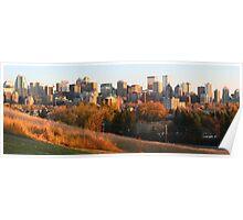 Downtown at sunset (panorama) Poster