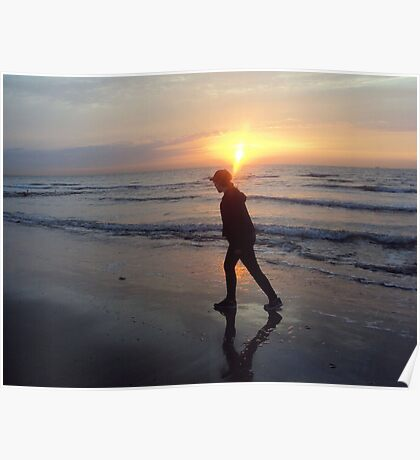 A lonely sunset stroll Poster