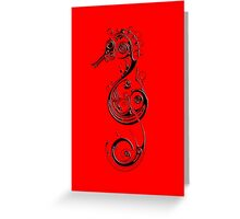 Seahorse Swirly Ink Design - Red Background Greeting Card