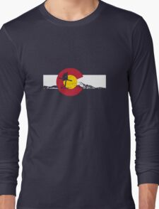 Skier - Colorado Flag - Iron Cross Long Sleeve T-Shirt