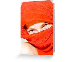 Blue eyes with red scarf Greeting Card