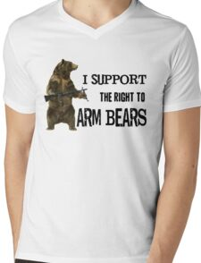 I Support the Right to Arm Bears, Grizzly Bears Mens V-Neck T-Shirt