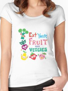 Eat Your Fruit & Veggies  Women's Fitted Scoop T-Shirt