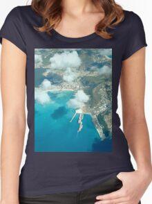 an inspiring Sint Maarten landscape Women's Fitted Scoop T-Shirt