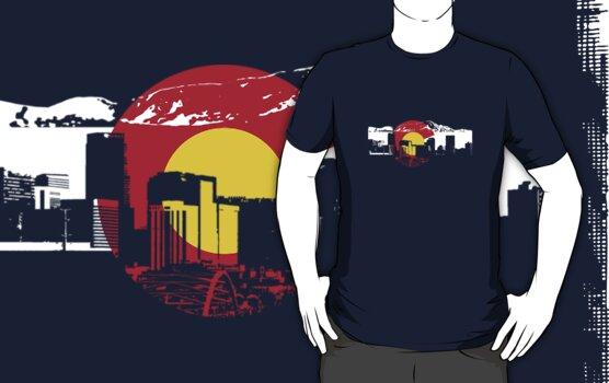 Denver Skyline - Colorado Flag by FlagSilhouettes