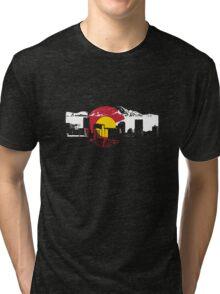 Denver Skyline - Colorado Flag Tri-blend T-Shirt
