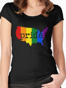 AMERICA USA GAY PRIDE MARRIAGE MAP  Women's Fitted Scoop T-Shirt