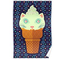 Strawberry-Mint Cat Poster