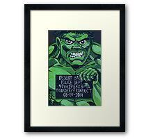 Funny Incredible Hulk Superhero Mugshot Painting Framed Print