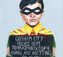 Funny Robin Superhero Mugshot Painting by HRothstein