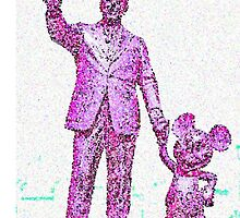 Mickey Mouse and Walt Disney iphone Case or Skin Statue in Disneyland Pink Pointillism by kellyblackie