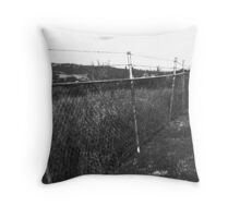 Black and White Photograph - Metal Fence  Throw Pillow