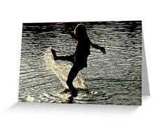 My daughter playing in water Greeting Card