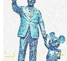 Mickey Mouse and Walt Disney iphone Case or Skin Statue in Disneyland Cyan Blue Pointillism by kellyblackie