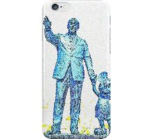Mickey Mouse and Walt Disney iphone Case or Skin Statue in Disneyland Cyan Blue Pointillism iPhone Case/Skin