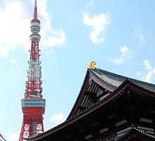 Tokyo Tower with Zojo-Ji Temple   by jojobob