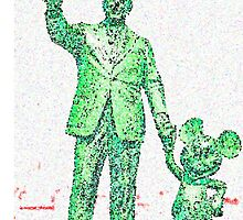 Mickey Mouse and Walt Disney iphone Case or Skin Statue in Disneyland Green Pointillism by kellyblackie
