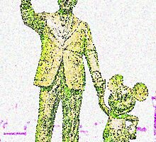 Mickey Mouse and Walt Disney iphone Case or Skin Statue in Disneyland Yellow Pointillism by kellyblackie