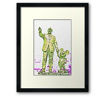 Mickey Mouse and Walt Disney iphone Case or Skin Statue in Disneyland Yellow Pointillism Framed Print
