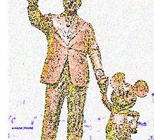 Mickey Mouse and Walt Disney iphone Case or Skin Statue in Disneyland Orange Pointillism by kellyblackie