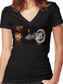 #2 Dark Street Women's Fitted V-Neck T-Shirt
