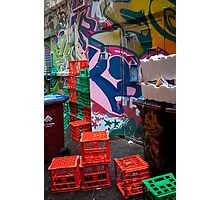 Melbourne City Alley, Graffiti and crates Photographic Print