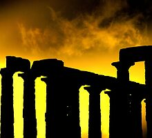 Columns of Poseidon's Temple at Sounion Cape by John D. Carnessiotis