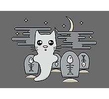 Kawaii cat ghost in spooky graveyard Photographic Print