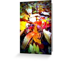 Leaves fallen down with magic colour Greeting Card