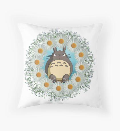 Totoro n Daisies Throw Pillow