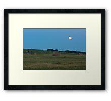 Moon above the prairies Framed Print