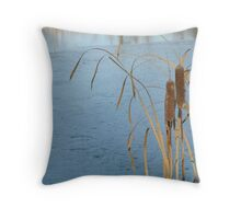 Cattails on Ice Throw Pillow