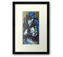 blue shadow, 24''x 48''. oil on wood. Framed Print
