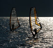 Windsurfers on Lake Garda by Neil Buchan-Grant