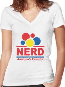 nerd alert white  Women's Fitted V-Neck T-Shirt