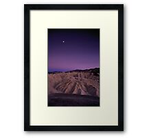 Evening Moon Over Zabriskie Point, Death Valley, CA Framed Print