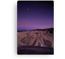 Evening Moon Over Zabriskie Point, Death Valley, CA Canvas Print