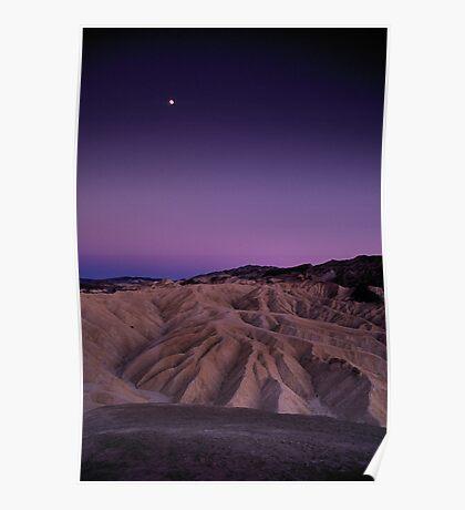 Evening Moon Over Zabriskie Point, Death Valley, CA Poster