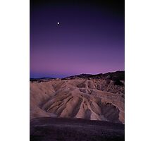 Evening Moon Over Zabriskie Point, Death Valley, CA Photographic Print