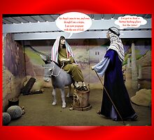 JOSEPH AND MARY IN BARN  FUNNY CHRISTMAS CARD by Cheryl Hall