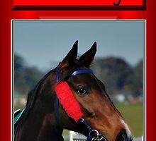HORSE FACE PROFILE CHRISTMAS CARD - CHRISTMAS GREETINGS by Cheryl Hall