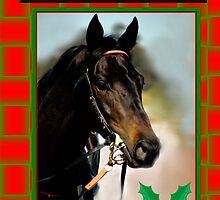 HOLLY HORSE RED & GREEN CHRISTMAS CARD - MERRY CHRISTMAS by Cheryl Hall