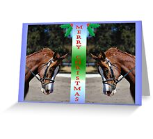 TWIN DOUBLE HORSE CHRISTMAS CARD - MERRY CHRISTMAS Greeting Card