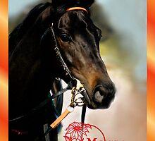 HORSE - MERRY CHRISTMAS CARD by Cheryl Hall
