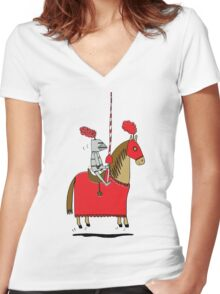 Jumpy Knight Women's Fitted V-Neck T-Shirt