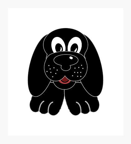 Children's Black Puppy Dog Photographic Print