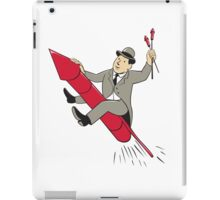 Man Bowler Hat Riding Fireworks Rocket Cartoon iPad Case/Skin