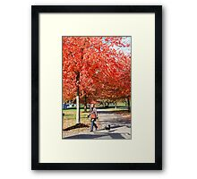 Walking the Dog in a Park, Vancouver City, Canada  Framed Print
