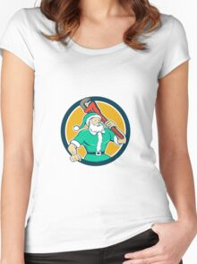 Santa Claus Plumber Monkey Wrench Circle Cartoon Women's Fitted Scoop T-Shirt